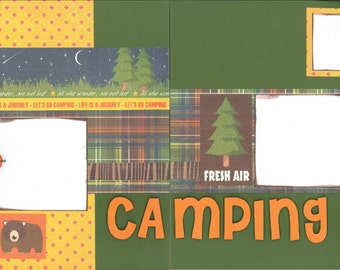 12x12 CAMPING scrapbook page kit, premade scrapbook, 12x12 premade scrapbook page, premade scrapbook page, 12x12 scrapbook layout