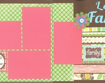12x12 LOVE MY FAMILY scrapbook page kit, premade scrapbook kit, 12x12 premade page kit, premade scrapbook pages, 12x12 scrapbook layout
