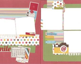 12x12 SMILE scrapbook page kit, premade smile scrapbook, 12x12 premade scrapbook page, premade scrapbook page, 12x12 scrapbook layout