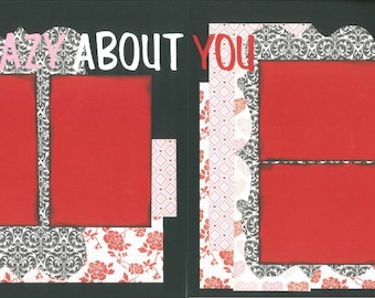 12x12 CRAZY ABOUT YOU scrapbook page kit, premade scrapbook, 12x12 premade scrapbook page, premade scrapbook page, 12x12 scrapbook layout