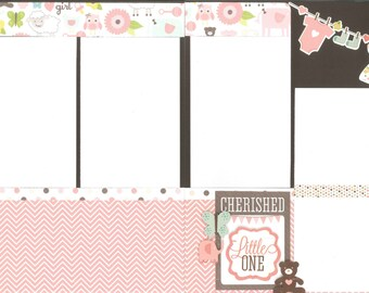 12x12 BUNDLE OF JOY scrapbook page kit, premade girl scrapbook, 12x12 scrapbook page kit, premade scrapbook pages, 12x12 scrapbook layout