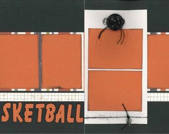 12x12 BASKETBALL scrapbook page kit, premade scrapbook, 12x12 premade scrapbook page, premade scrapbook page, 12x12 scrapbook layout