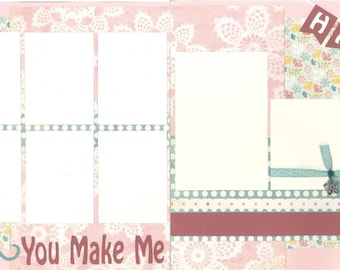 12x12 YOU MAKE me HAPPY scrapbook page kit, premade scrapbook, premade scrapbook page, premade scrapbook pages, 12x12 scrapbook layout