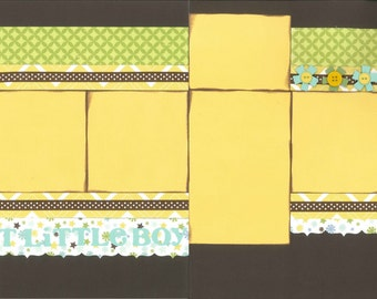 12x12 SWEET LITTLE BOY scrapbook page kit, premade boy scrapbook, 12x12 scrapbook page kit, premade scrapbook pages, 12x12 scrapbook layout