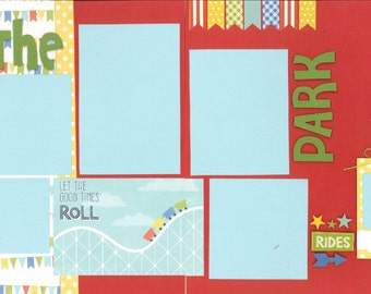 12x12 AT THE PARK scrapbook page kit, premade park scrapbook, 12x12 premade scrapbook page, premade scrapbook page, 12x12 scrapbook layout