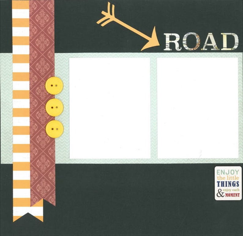 12x12 premade page kit 12x12 scrapbook layout premade scrapbook pages 12x12 ROAD TRIP scrapbook page kit premade scrapbook kit