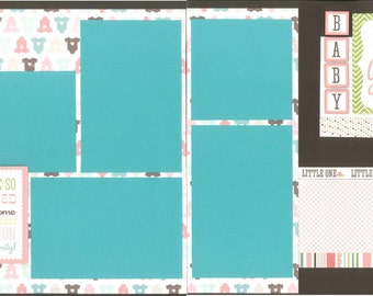 12x12 ITS A GIRL scrapbook page kit, premade baby girl scrapbook, 12x12 premade page kit, premade scrapbook pages, 12x12 scrapbook layout