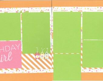 12x12 BIRTHDAY GIRL scrapbook page kit, premade scrapbook, 12x12 premade scrapbook page, premade scrapbook page, 12x12 scrapbook layout