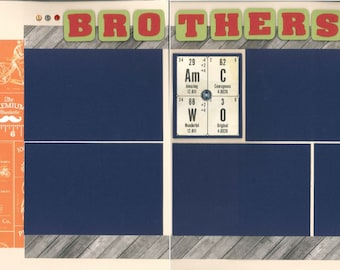 12x12 BROTHERS scrapbook page kit, premade brother scrapbook, 12x12 premade scrapbook page, premade scrapbook pages, 12x12 scrapbook layout