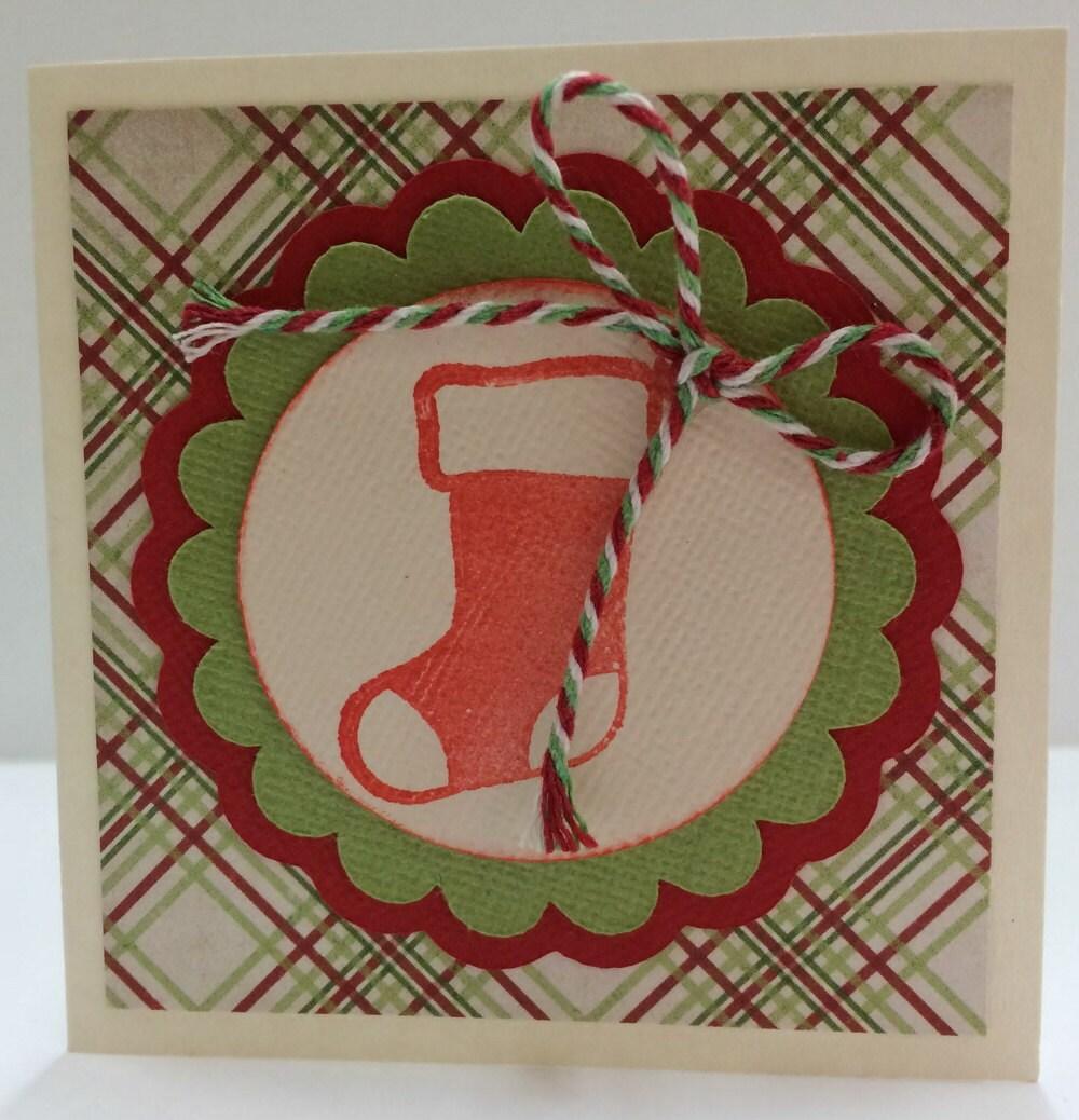 STOCKING Card kit Premade Christmas Cards Handmade Card Kit | Etsy