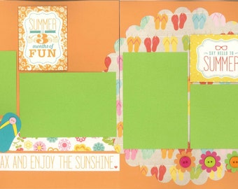 12x12 HELLO SUMMER scrapbook page kit, premade scrapbook, 12x12 premade scrapbook page, premade scrapbook pages, 12x12 scrapbook layout