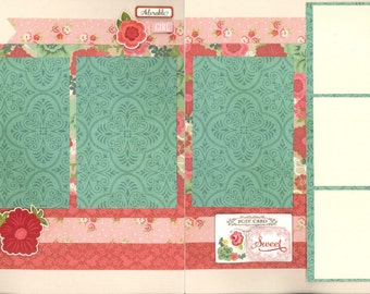 12x12 BEAUTIFUL scrapbook page kit, premade girl scrapbook, 12x12 premade scrapbook page, premade scrapbook pages, 12x12 scrapbook layout