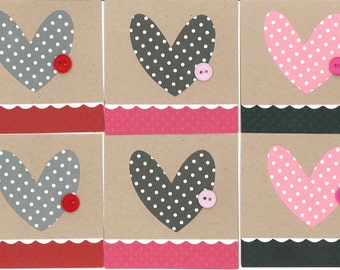 Mini Valentines Cards, Premade Valentines Cards, Handmade Card Kit, Handmade Love Cards, Pre-made Valentines Cards, Wedding Card