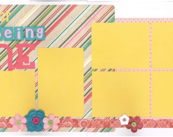 12x12 BEING ME scrapbook page kit, premade being me scrapbook, 12x12 premade scrapbook page, premade scrapbook pages, 12x12 scrapbook layout