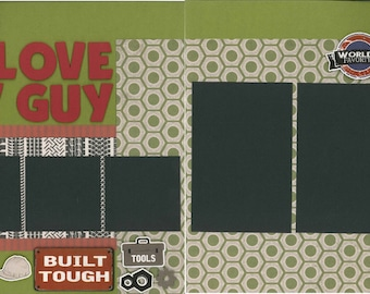 12x12 I LOVE MY GUY scrapbook page kit, premade scrapbook, 12x12 premade scrapbook page, premade scrapbook pages, 12x12 scrapbook layout