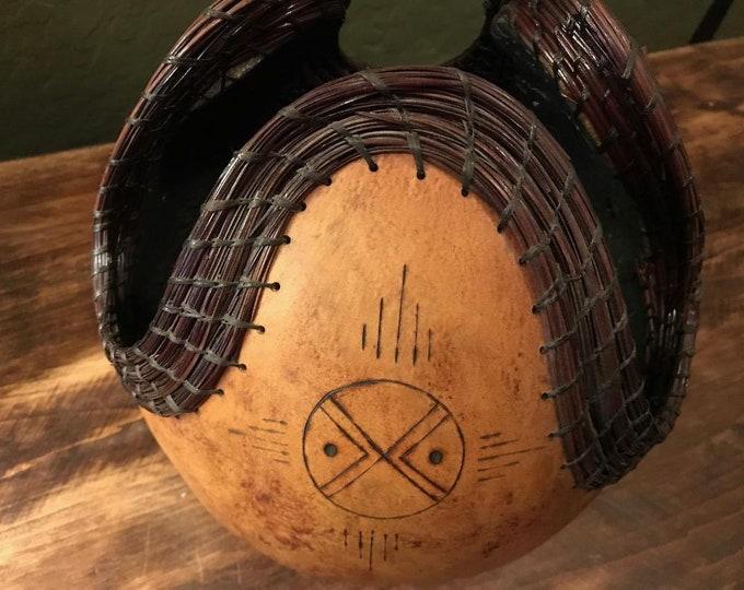 80s Southwest Gourd Art / Vintage Native American Style Gourd Bowl