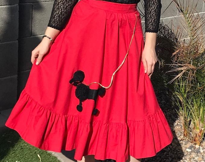 70s does 50s Poodle Skirt / Vintage Red Full Novelty Skirt