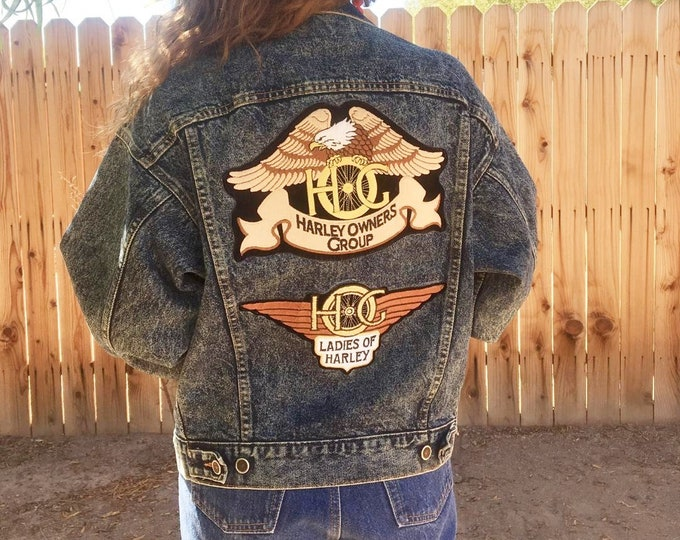 80s Levi Jean Jacket / Vintage Levis Jacket Harley Davidson Patched / Ladies of Harley