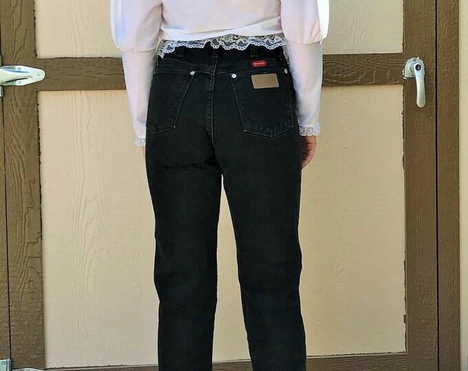Wrangler High Rise Denim Jeans Vintage / 80s Black High Waist-Mom Jeans Wrangler