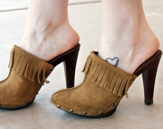 Suede High-Heel Clogs | Women's shoe size 6/6.5