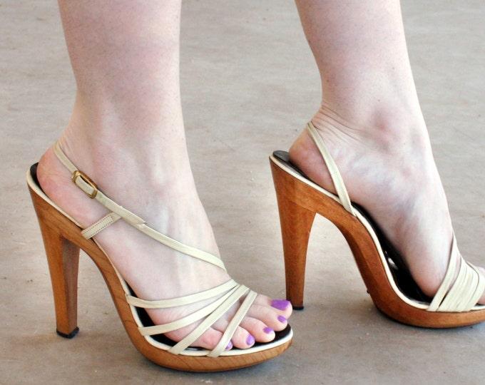 "70's Strappy Leather Wooden 5"" Platform Heels | Women's size 7"