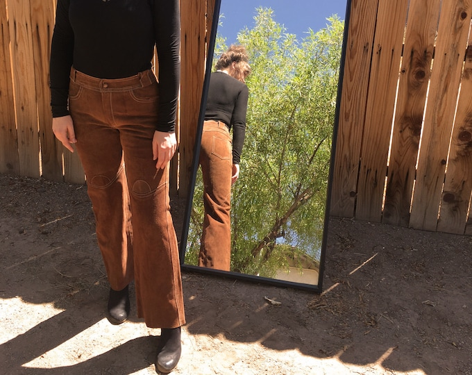 60s Hippie Suede Bell Bottoms / Vintage Suede Jeans