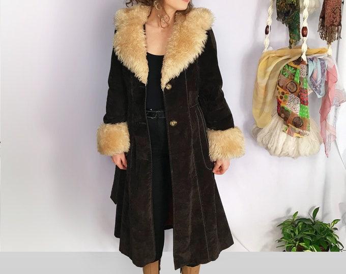 70s Penny Lane Bohemian Hippy Coat..Vintage Faux Fur and Suede Maxi Coat by Fingerhut