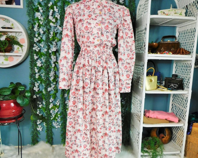 Vintage Modest Midi Floral Dress / 80s Long Sleeve A-Line Dress