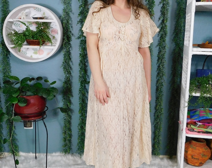 Vintage Lace Dress / 70s 80s  Peach Lace Flowy Midi Dress