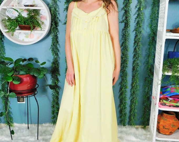 70s Maxi House-dress / Vintage Yellow with Polka Dots Long Summer Dress