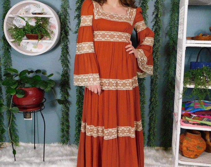 Vintage Maxi Dress / 70s 80s Maxi Boho Festival Dress