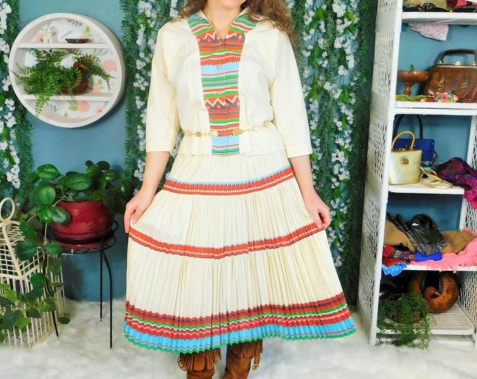 50s (2) Piece Native American Camp Dress / Vintage Southwestern Patio Dress Set