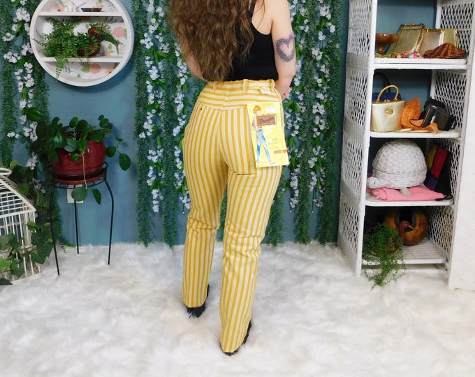 60's Wrangle Trim Western Fit Jeans / Vintage High Waist Striped Jeans