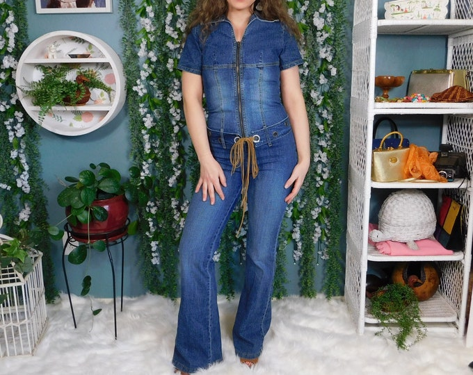 80s 90s Denim Jumpsuit by Angie Jeans / Vintage Stretch Denim belted Jean One Piece Zipper Front Flared Leg / Size Small