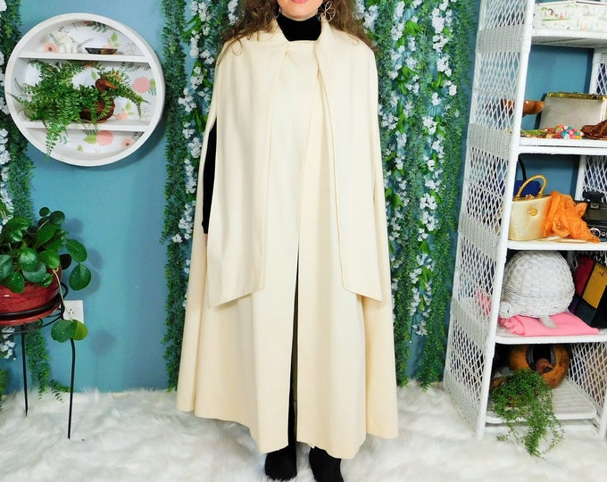 80s Winter White Full Length Wool Cape