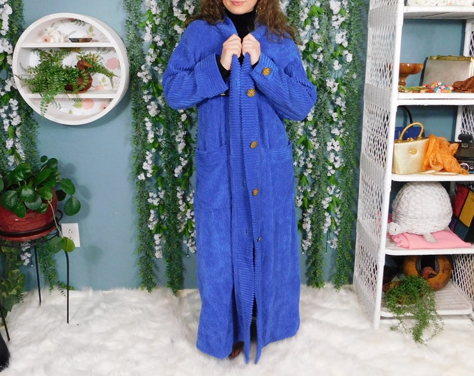 80's Stan Herman for Neiman Marcus Blue Chenille Full Length Robe / Vintage Maxi Bathrobe/Housecoat