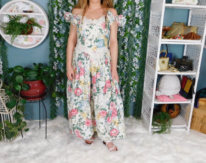90s Scott McClintock Floral Dress Deadstock / Vintage Garden Tea Length Dress