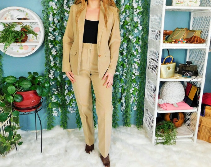 80s Wrangler Tan Corduroy Pantsuit / Vintage 2pc. Corduroy Pants and Blazer