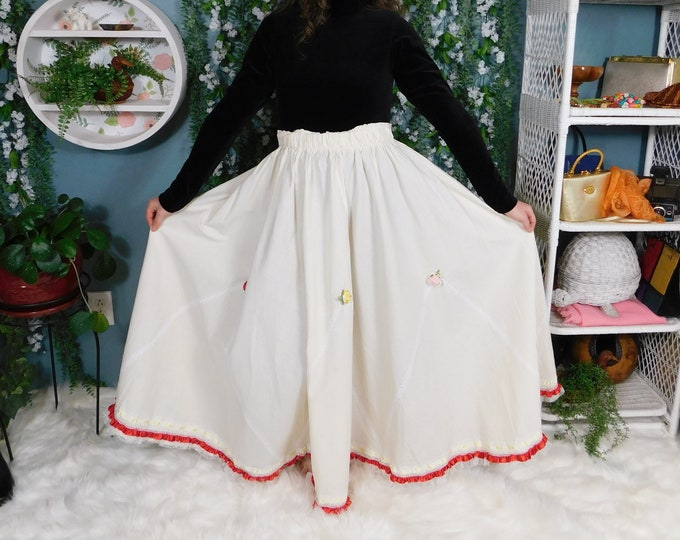 80's Full Length Festive Skirt with Embellishments / Vintage Maxi Muslin Skirt with Ribbon, Lace and Rose Appliques