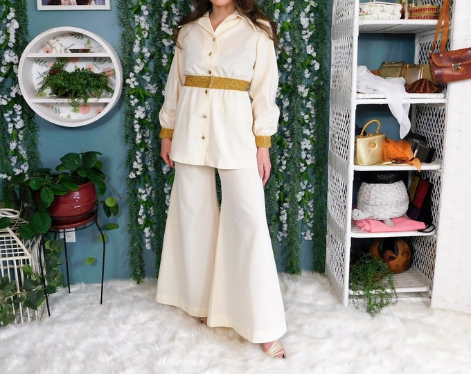 60's Polyester Pant Suit by Charlotta of CA / Vintage 2 piece set Bell Bottom Pant with Long Sleeve Top Cream with Gold Metallic detail