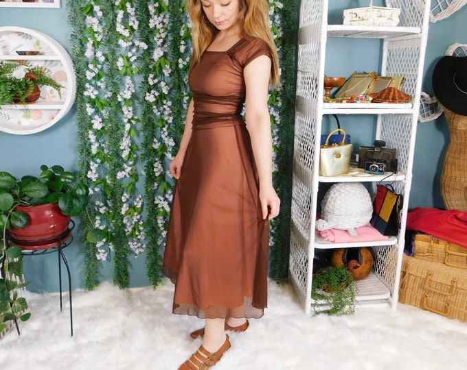 90s Sheer Layered Brown and Blush Rose Mid Length Dress by Jody