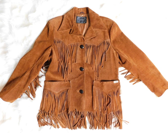 Item on Hold---80s Ms Pioneer Suede Fringe Jacket / Vintage Leather Coat Butterscotch Suede