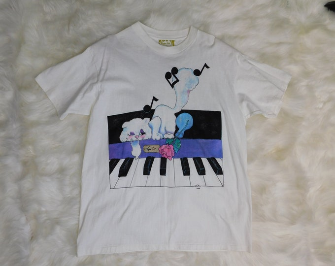 90s Tigre Lis by Karen Justice Cat on Piano T Shirt  Oversized