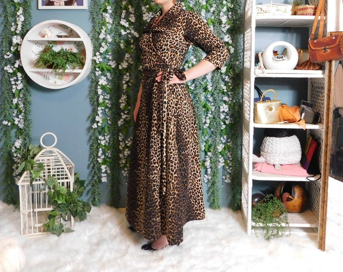 90's Full Length Leopard Print Wrap Dress / Vintage 3/4 Sleeve Maxi Wrap Dress