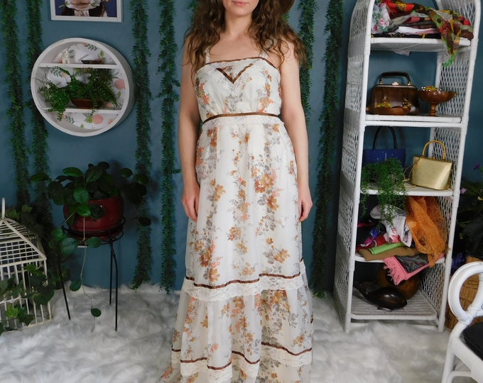 70s Long Flowy Floral Dress / Vintage Maxi Sheer Layered Dress
