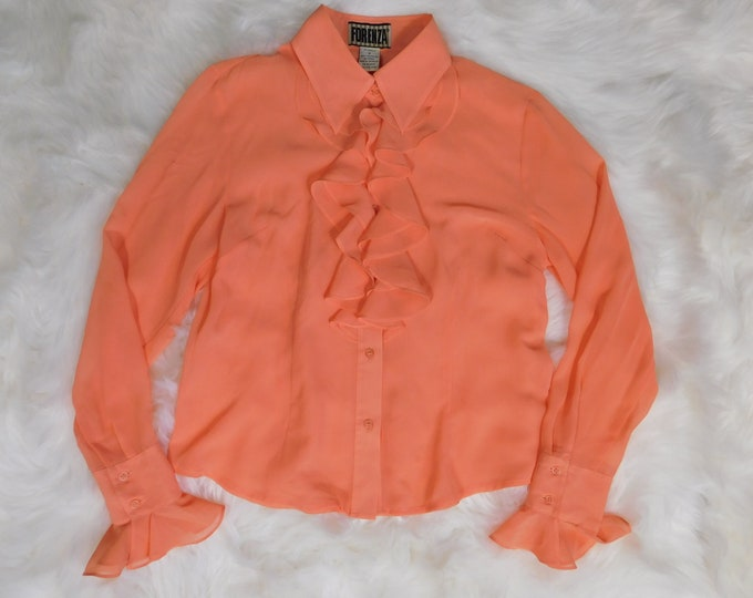 90s Forenza Sheer Ruffled Long Sleeve Button Up Shirt