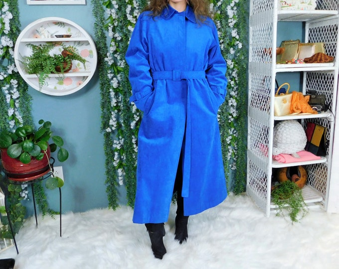 80's Count Romi Ultra Suede Long All Weather Traveler Coat / Vintage Blue Suede Trench Coat