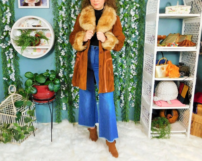 70s Ambe Suede and Faux Fur Trim Coat / Vintage Penny Lane Bohemian Hippy Coat