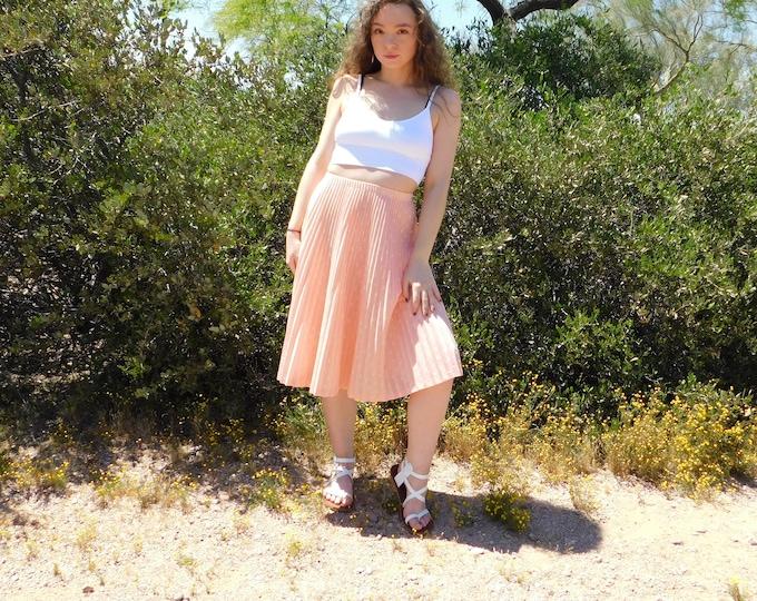 70's Graff Petite Mid Length Skirt / Vintage Pleated Peach Skirt