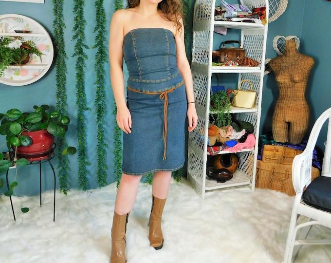 90s Denim Strapless Dress / Vintage Blue Jean Stretch Body Con Dress by Rue 21